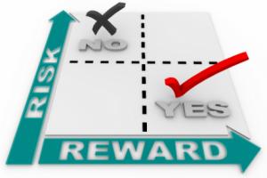 "Decision-making ""risk"" and ""reward"" diagram"
